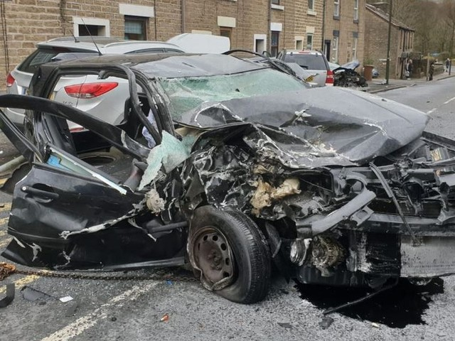 Car left mangled wreck after smashing into lamppost and vehicles