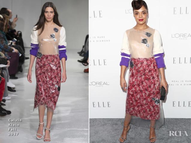 Tessa Thompson In Calvin Klein 205W39NYC – ELLE's 24th Annual Women in Hollywood Celebration
