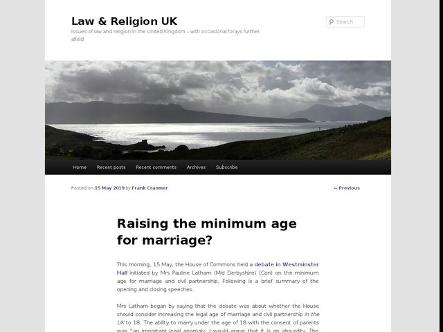 Raising the minimum age for marriage?