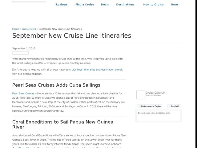 September New Cruise Line Itineraries