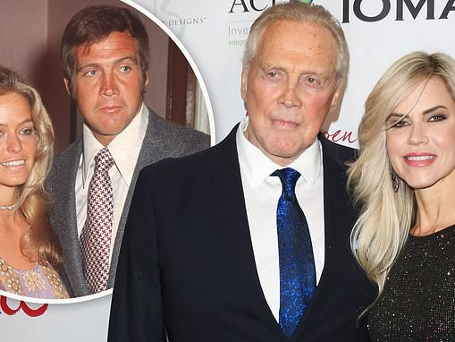 Six Dollar Man star Lee Majors poses with his pretty blonde spouse