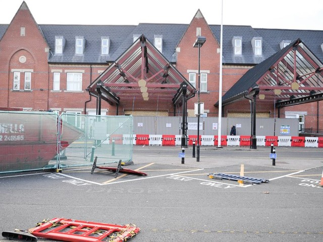 Work begins on a new temporary ward for Covid-19 patients at Wigan hospital