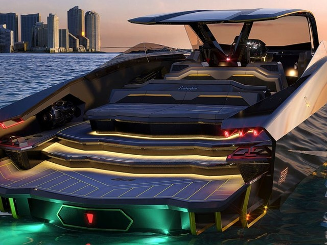 Lamborghini partnered with a boat maker to create this $3.4 million yacht that looks like a supercar — take a closer look