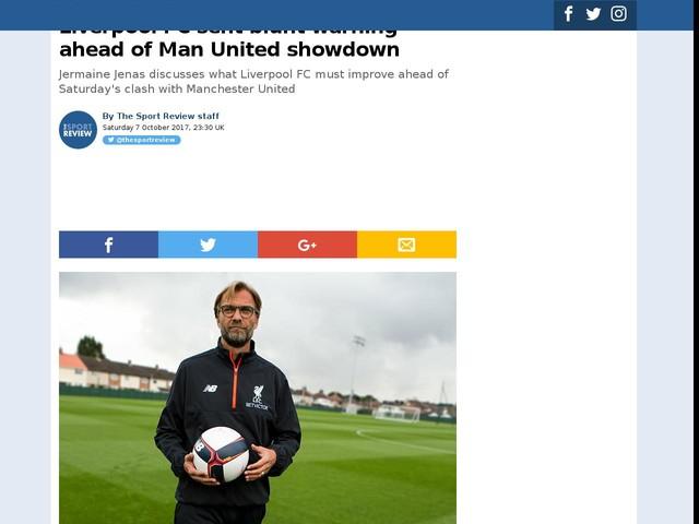 Liverpool FC sent blunt warning ahead of Man United showdown