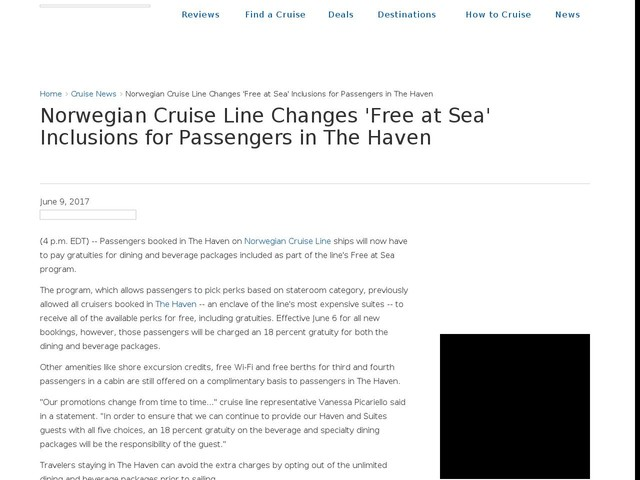 Norwegian Cruise Line Changes 'Free at Sea' Inclusions for Passengers in The Haven