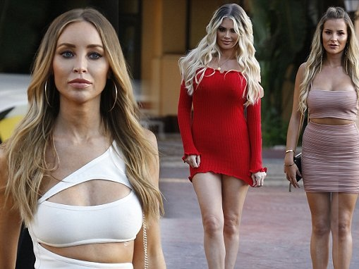 TOWIE beauties step out braless in Marbella