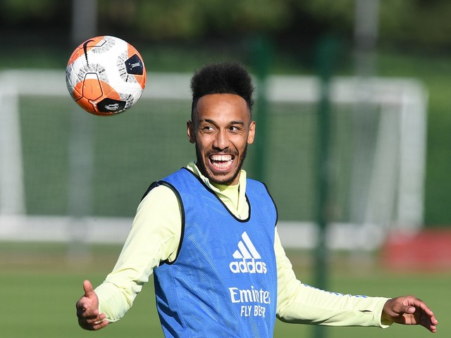 Latest Arsenal training pictures show Aubameyang in high spirits after contract hint