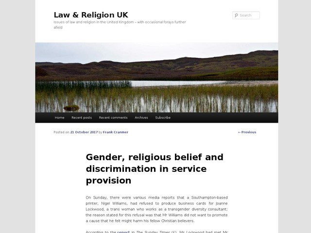 Gender, religious belief and discrimination in service provision