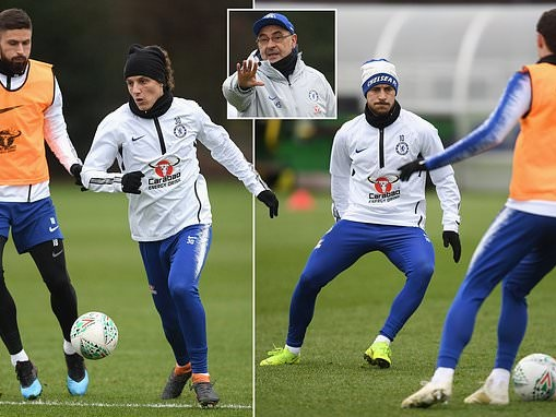 Chelsea brave the chill as Eden Hazard and Co train ahead of Carabao Cup clash against Tottenham