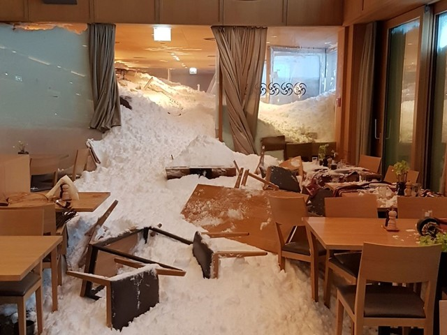 Avalanche hits hotel as heavy snow across Europe leaves 17 dead