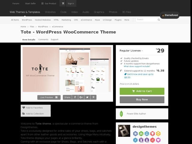 Tote - WordPress WooCommerce Theme (eCommerce)