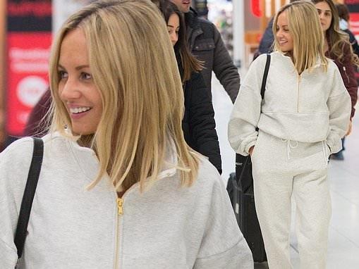 Samantha Jade dresses down in grey sweats at the airport