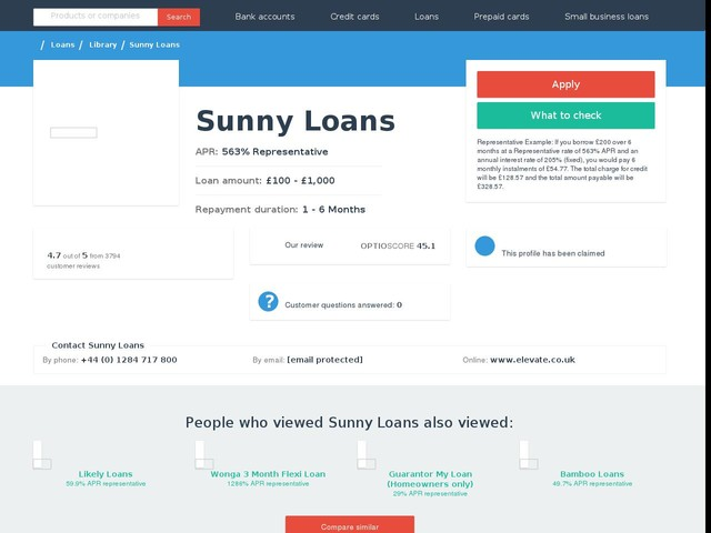 Sunny Loans - In depth info & reviews | Choose Wisely.