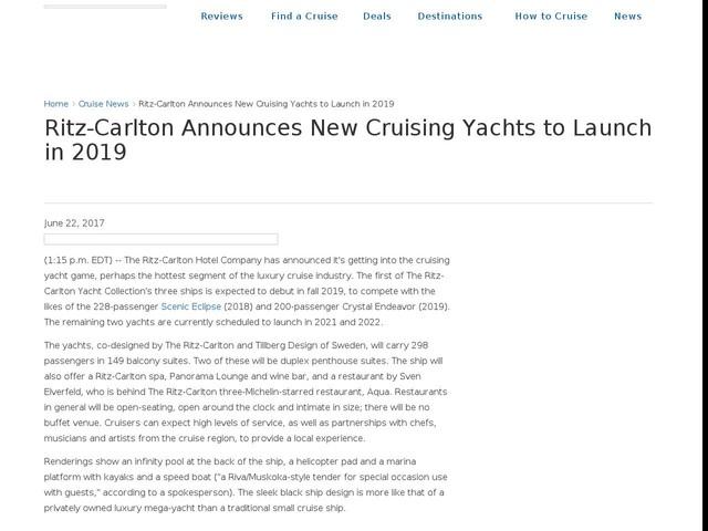 Ritz-Carlton Announces New Cruising Yachts to Launch in 2019