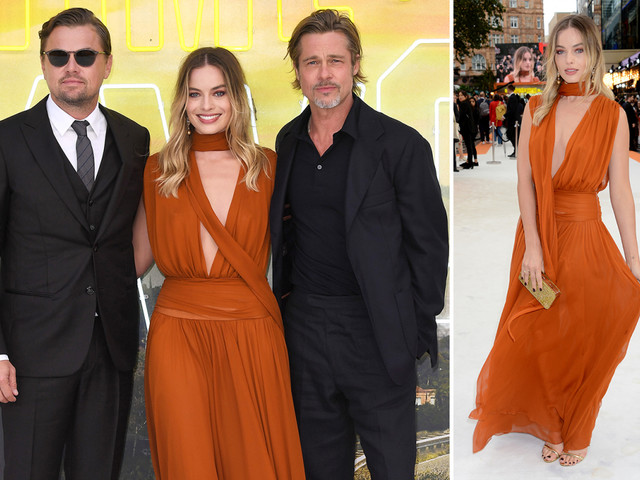 Margot Robbie looks incredible in a burnt orange gown as she joins Brad Pitt and Leonardo DiCaprio at the Once Upon A Time In Hollywood premiere