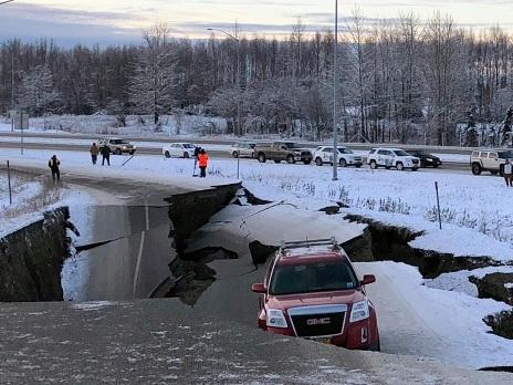 Powerful quakes buckle Alaska roads, trigger tsunami warning