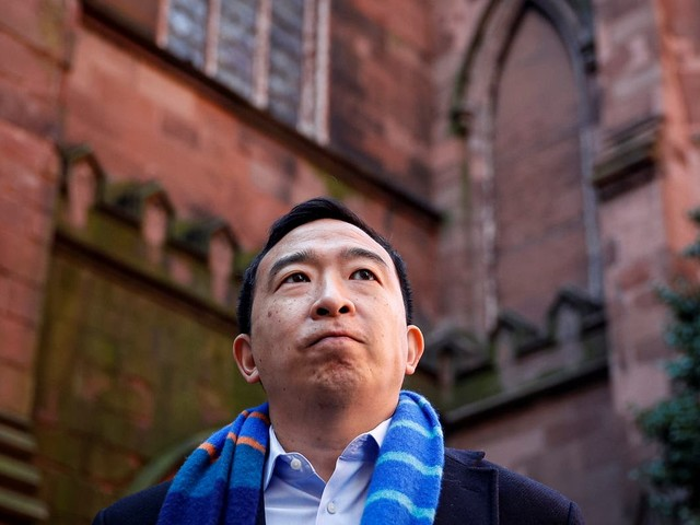 Andrew Yang criticised online for cursing during mayoral campaign event at church