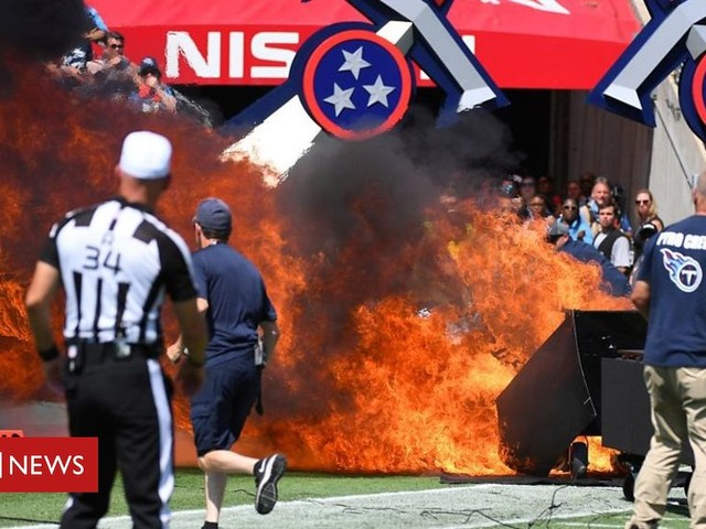 Fire breaks out on pitch moments before NFL game