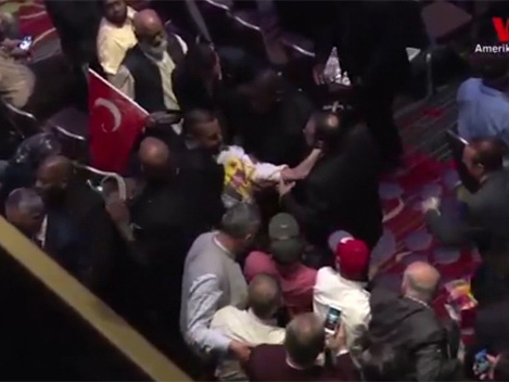 Fight Breaks Out During Speech By Turkish President In Times Square Hotel