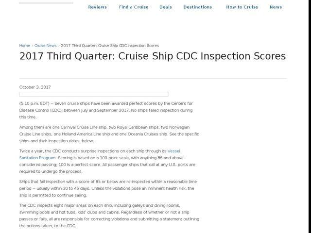 2017 Third Quarter: Cruise Ship CDC Inspection Scores