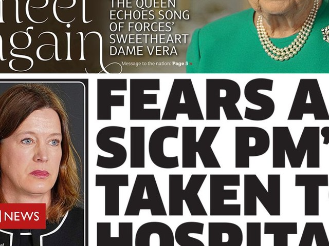 Newspaper headlines: 'Fears' for ill PM and Queen's 'message of hope'