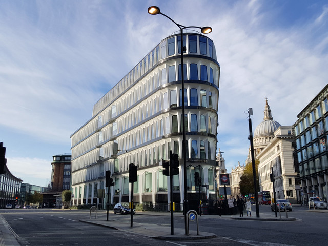 Admire this striking building on Cannon Street