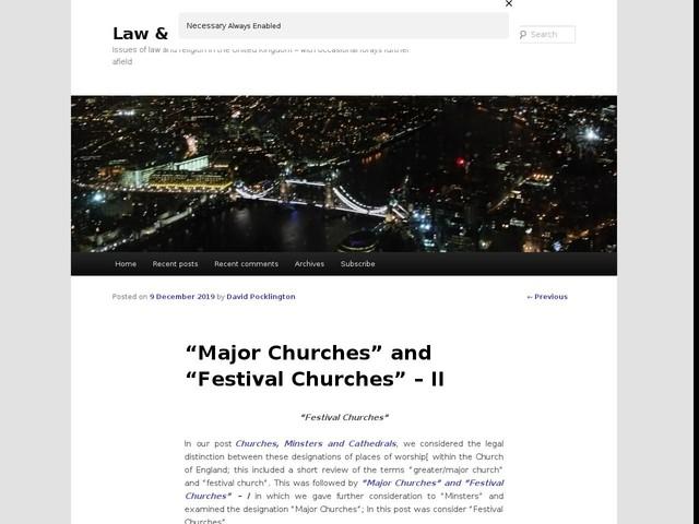 """Major Churches"" and ""Festival Churches"" – II"