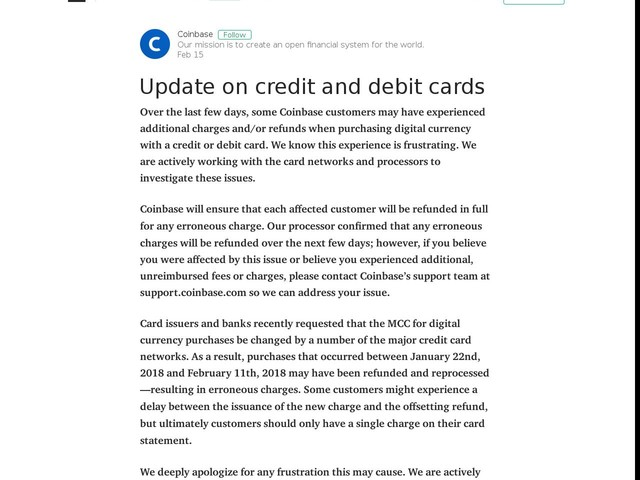 Update on credit and debit cards - coinbase.com