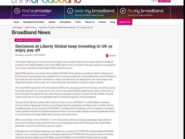 Decisions at Liberty Global keep investing in UK or enjoy pay off