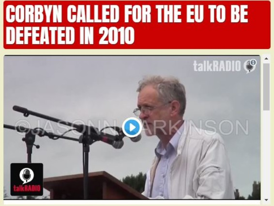 Corbyn Called for the EU to be Defeated in 2010