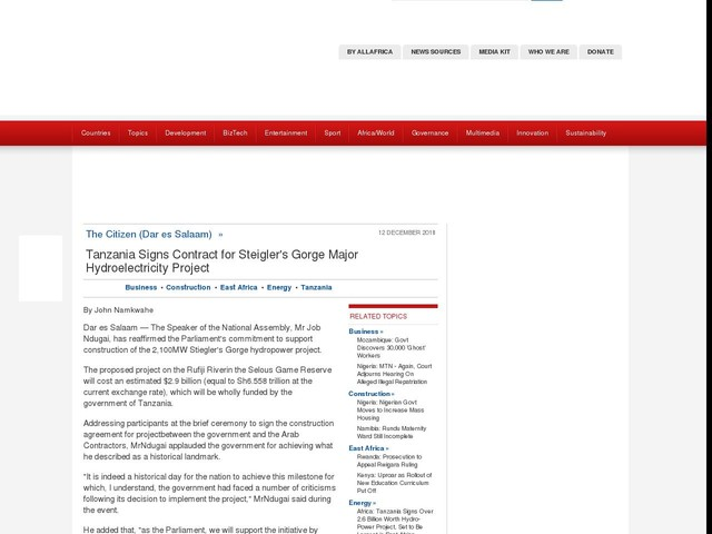 Tanzania: Tanzania Signs Contract for Steigler's Gorge Major