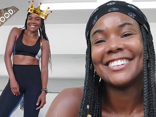 Gabrielle Union beams with joy as she showcases her toned abs in sports bra