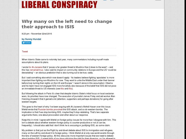 Why many on the left need to change their approach to ISIS