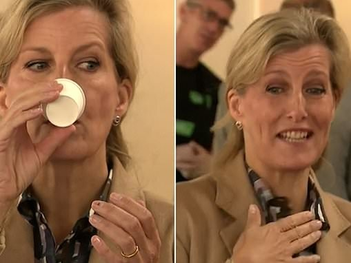 'That's quite strong!' Sophie Wessex tastes fiery whiskey in Belfast