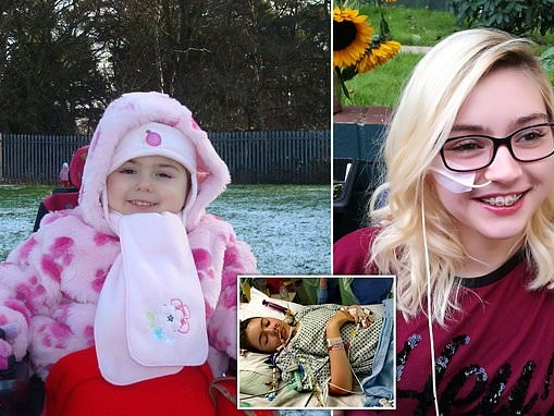 Wheelchair-bound girl struggles to pour herself a drink because of rare muscle weakening condition