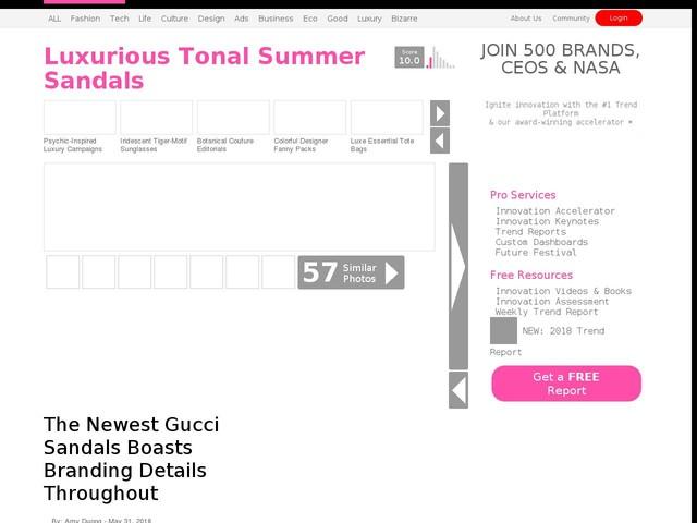 5e3e1ddccd70a8 Luxurious Tonal Summer Sandals - The Newest Gucci Sandals Boasts Branding  Details Throughout (TrendHunter.com)