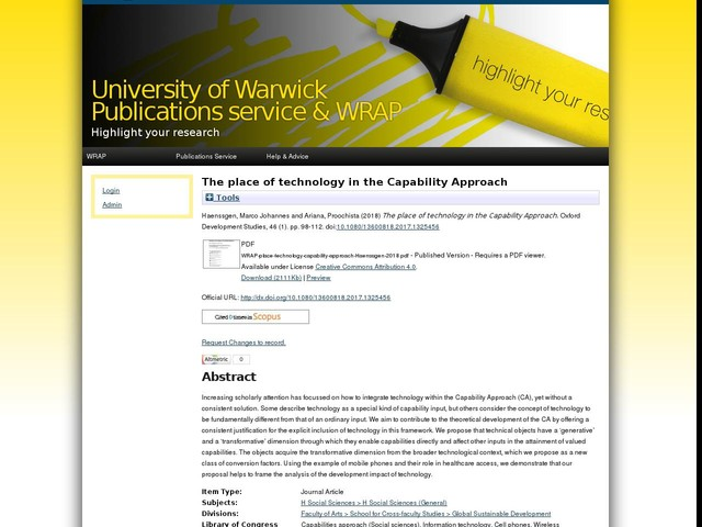 The place of technology in the Capability Approach