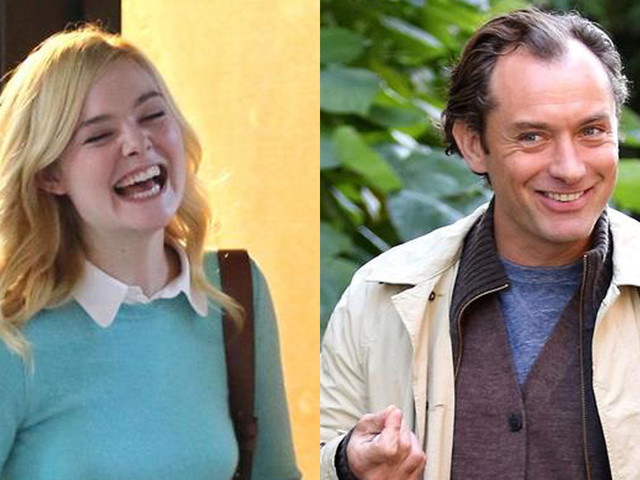 Elle Fanning Shares a Laugh on Set of Woody Allen Movie in NYC