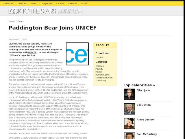 Paddington Bear Joins UNICEF