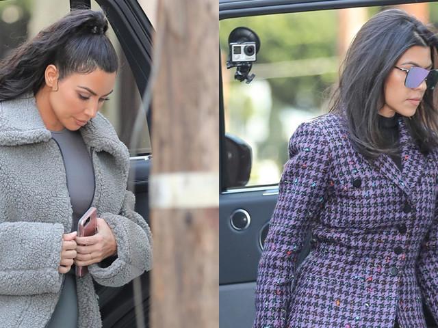 Kim & Kourtney Kardashian Film 'KUWTK' Scenes at Lunch