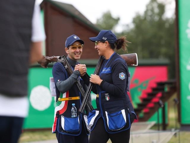Italian Olympic champions claim mixed team shotgun skeet silver and gold at Minsk 2019