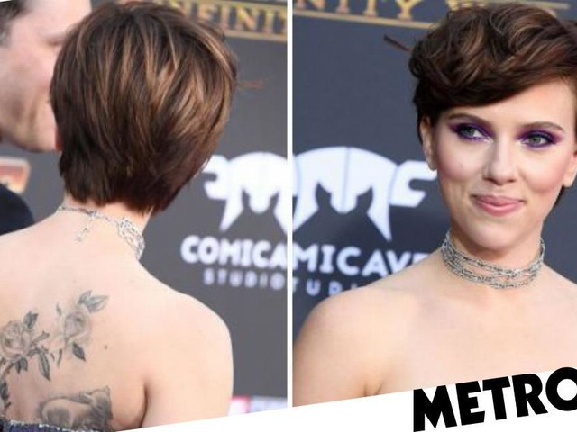 Scarlett Johansson reveals floral back tattoo on the Avengers: Infinity War premiere's red carpet