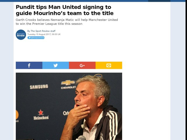 Pundit tips Man United signing to guide Mourinho's team to the title