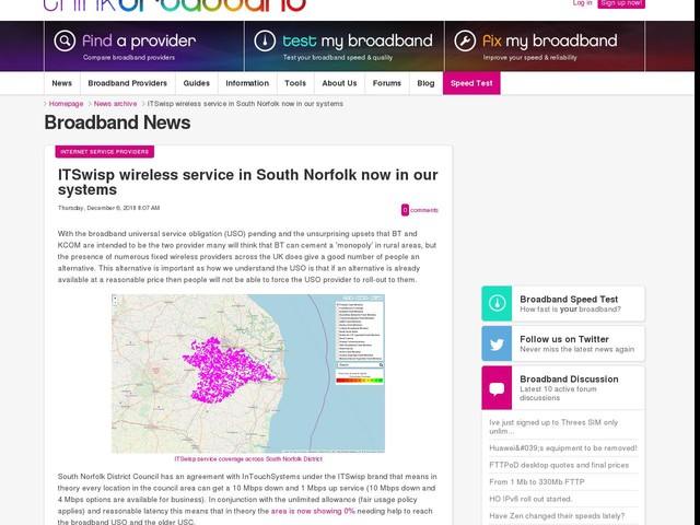 ITSwisp wireless service in South Norfolk now in our systems