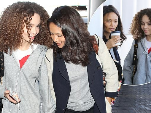 Thandie Newton jets out of LAX with lookalike daughter Nico Parker, 13