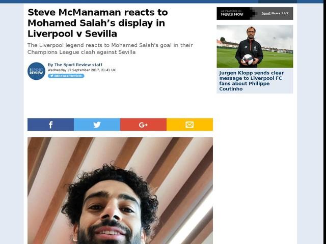 Steve McManaman reacts to Mohamed Salah's display in Liverpool v Sevilla