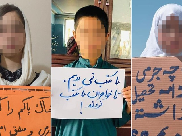 Young Afghans protest against order telling girls not to go to school