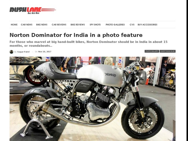 Norton Dominator for India in a photo feature
