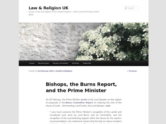Bishops, the Burns Report, and the Prime Minister