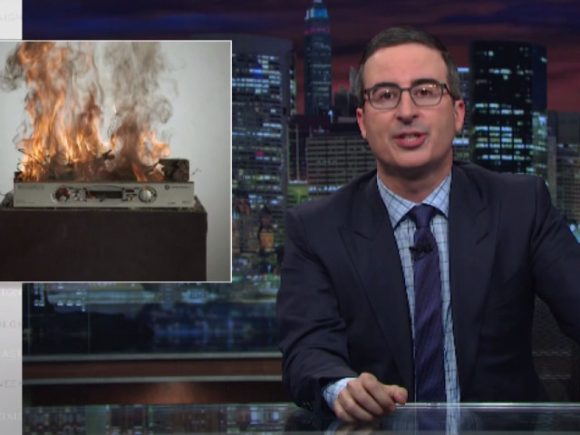 John Oliver Protests Corporate Consolidation by Blowing Up Your Cable Box